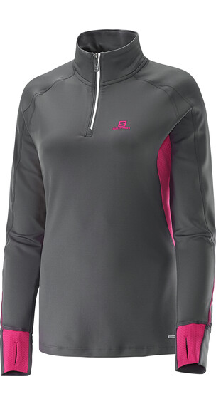 Salomon W's Trail Runner Warm LS ZIP Tee Galet Grey / Hot Pink